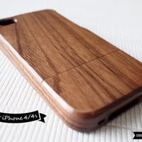 SALE30%OFF: Natural Wood iPhone 4 Case - Walnut Wood iPhone Case // Real Wood, Plain, Gift, Tree, Forrest, Neat, Minimal, Shades of Wood, 4s