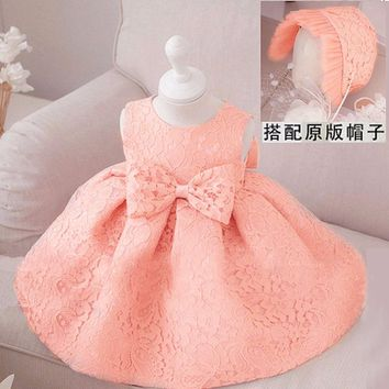 Retail Fashion Formal Newborn Wedding Dress Baby Girl Bow Pattern For Toddler 1 Years Birthday Party Baptism Dress +cap Clothes