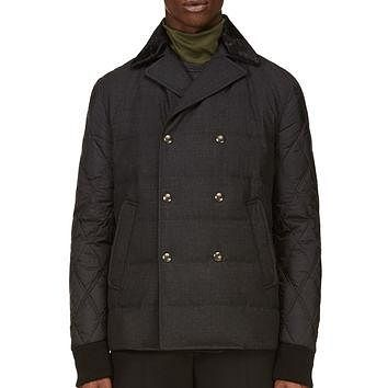 Moncler Gamme Bleu Black Wool And Nylon Quilted Peacoat