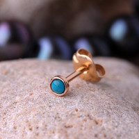 TRAGUS / Cartilage STUD 2mm turquoise stone  in 3mm 14K yellow gold filled setting. Also nose or Ear Stud handcrafted