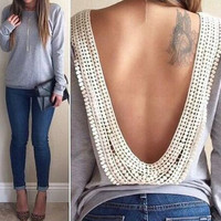 Nikki Open-Back Sweater