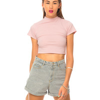 Motel Mindy Turtle Neck Top in Baby Pink