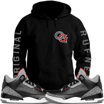 Jordan 3 Black Cement Sneaker Hoodie to Match - OG
