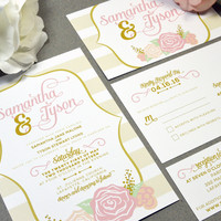 Rose Wedding Invitations Calligraphy Wedding Invite Set Gold and Blush Pocket Invitation Floral Wedding Invitation Suite Striped Wedding