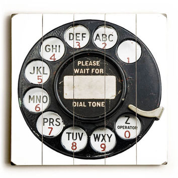 Telephone Dial Wood Sign