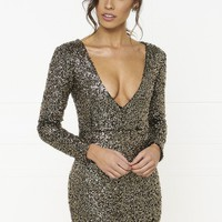 Honey Couture MONIQUE Black Gold Long Sleeve Sequin Mini Dress
