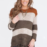 Colorblock Tassel Hem Sweater - Rust/Taupe/Olive