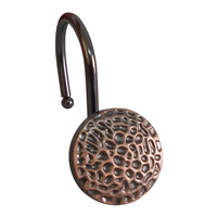 Elegant Home Fashions Hammered Round Shower Hooks (Set of 12) - Rust/Copper