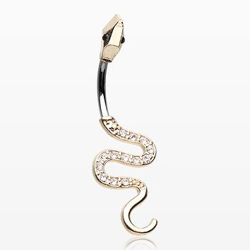 Golden Snake Sparkle Belly Button Ring