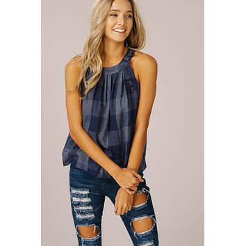 Checkered Halter Top - Navy