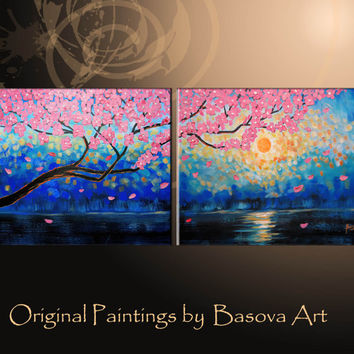 "ON SALE 40"" LARGE original Painting Cherry Blossom Branch Abstract Painting Tree Painting Office Décor Canvas Art Sunset Cobalt Blue"