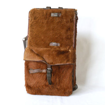 Swiss Army Backpack 1940, WW2 Era, Cowhide Tornister, Rucksack, 'Haaraffe', Affe, Animal Hide Military Bag, Switzerland, Fishing, Hiking