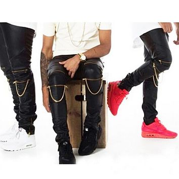 High Quality Men Skinny Justin Bieber Pants Pu Faux Leather Slim Fit Trousers Hip Hop Zipper Swag Biker Jogger Kanye West Pants