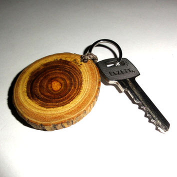 Osage Orange Keychains, key chains, key rings. Natural wood slice key chain. Handcrafted wood disc key ring. Wooden slice ornament key chain