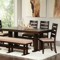 7 pc Travis collection espresso finish wood dining table set with padded seats and ladder back design