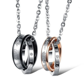 "Couple ""Forever Love"" Double Ring Necklace Lover Promise Necklace One Piece Price"