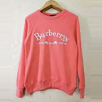 BURBERRY Classic Popular Women Men Leisure Embroidery Sweater Top Sweatshirt Pink