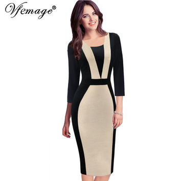 Vfemage Womens Autmn Elegant Optical Illusion Colorblock Contrast Modest Slim Work Business Casual Party Sheath Dress 2138
