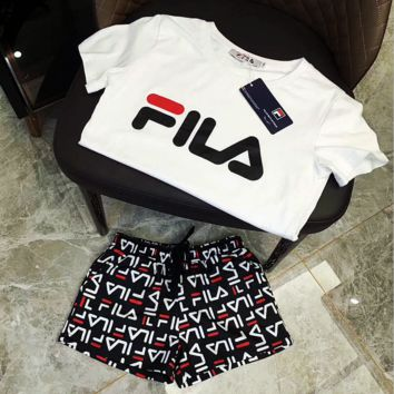 ''FILA'' two sets of short sleeved shorts sport suit