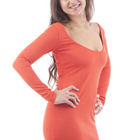 Waffle Design Fitted Bodycon Dress-Orange-UK 8 - EU 36
