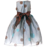 Sweet Kids Girl Blue Brown Dot Flower Girl Easter Pageant Dress 6M-12