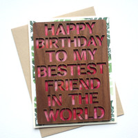 Best Friend Birthday Card - Watercolor Birthday Card - Wood Card - Unique Greeting Card