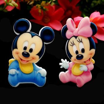 40pcs/Lot Mixed Baby Mickey Minnie Mouse Planar Resin Cabochon Flat Back Scrapbooking DIY Flatback Hair Bow Center Decoration