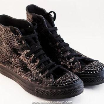 ICIKGQ8 all black monochrome sequin converse canvas hi top sneakers shoes with rhinestoned toe