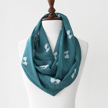 Cat Print Teal Blue Infinity Scarf - Loop Scarf - Circle Scarf - Cowl Scarf - Soft and Lightweight