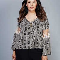 Crochet-Inset Bell Sleeve Blouse | Wet Seal