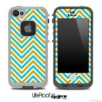 V3 Chevron Pattern Blue and Gold Skin for the iPhone 5 or 4/4s LifeProof Case