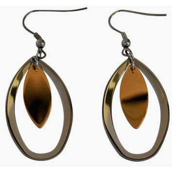 Stainless Steel Earrings Multi-tone Oval Drop