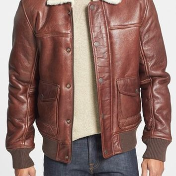 Men's Timberland 'Mount Major' Genuine Shearling Bomber Jacket