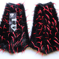 MADE TO ORDER black & red spiked Fluffies Fuzzy Leg Warmers fluffy boot covers rave boots gogo