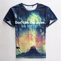 Tee 3D Pattern Strong Character Slim Couple Round-neck Short Sleeve T-shirts = 4810540356
