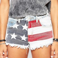 Liquor & Poker Low Rise Raw Edge Denim Short With Festival Americana Print