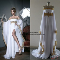 2014 New Fashion Long Prom Dress Arabic Kaftan Gold Lace Appliqued Chiffon White Formal Evening Dress With Long Sleeves-in Prom Dresses from Apparel & Accessories on Aliexpress.com | Alibaba Group
