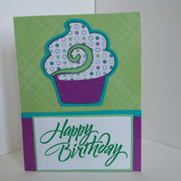 Happy Birthday! - Purple and Green Handmade Birthday Greeting Card with Cupcake and Polka Dots - Inside Blank