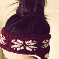 Headband Ear Warmer, Holiday Headband, Winter Headband, Button Headband