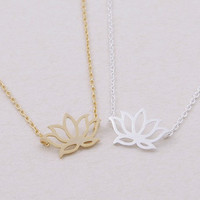 Lotus necklace in gold or silver, simple, everyday, heart giraffes necklace