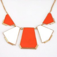 New design Fashion Unique Fashion Orange Blocking Bib Necklace free shipping