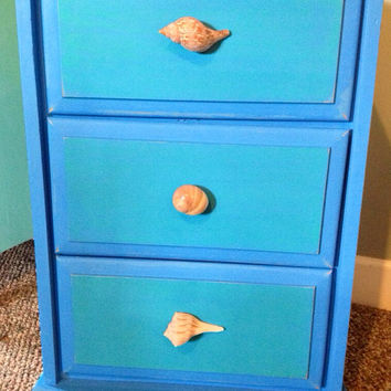 Shell Handle Nightstand in Chalk Paint Ocean Blue