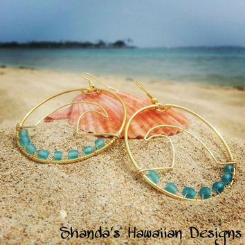 Wave Wire Hoop Earrings, Surf, Beach, Ocean