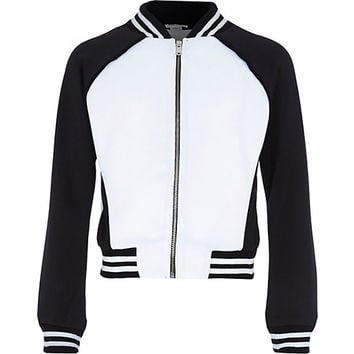 River Island Girls black and white block bomber jacket