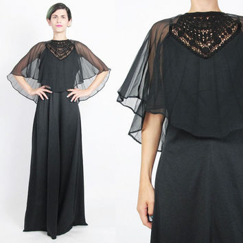 1970s Crochet Cape Dress Sheer Capelet Dress Black Evening Gown Cut Out Floral Crochet Long Maxi Dress Pleated Disco Goddess Dress (M/L)