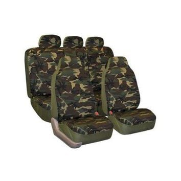 FH Group Dark Camouflage Seat Covers, Side Airbag Compatible, with Split Bench Function, Full Set