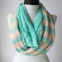 mint lace winter scarf,infinity scarf, scarf, scarves, long scarf, loop scarf, gift