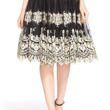 Women's Alice + Olivia 'Justina' Embroidered Tulle Skirt,