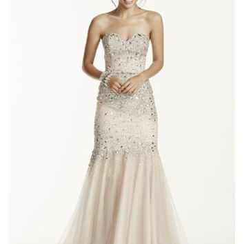 Strapless all over beaded bodice dress from david 39 s bridal for All over beaded wedding dress