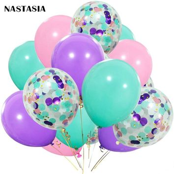 NASTASIA Confetti balloon 40pcs/lot  Purple Pink  Latex Balloon  Graduation  Baby Shower Unicorn Birthday Party Supplies